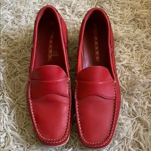 Prada Red Loafers